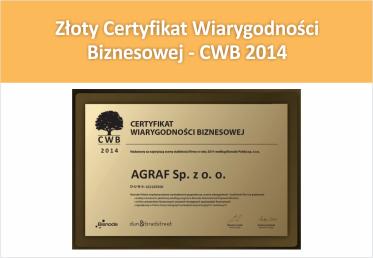 Złoty Certyfikat Wiarygodności Biznesowej – CWB 2014